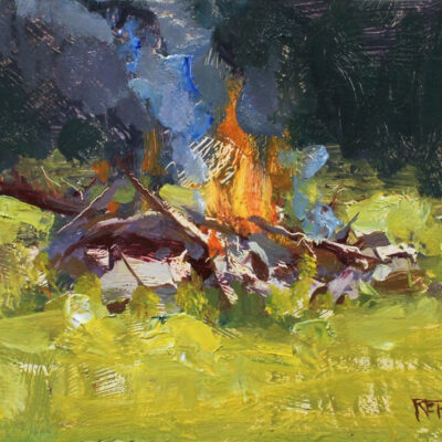 """Daytime Fire"" 6.5x8.5 in. oil on board. available"
