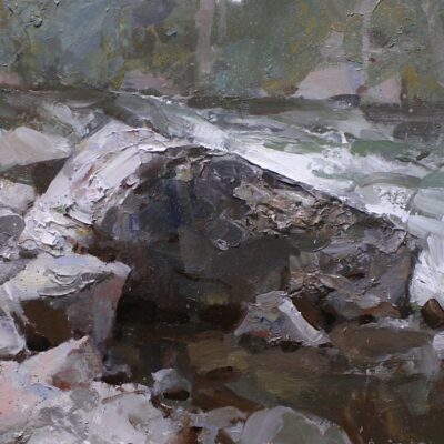 """Rugged edge of the Creek"" oil on board. 12x16 in. available"