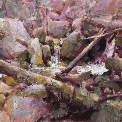 """Spring Stream"" 9.5x22 in. oil on board. available"