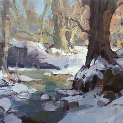 """""""Cold Afternoon"""" 7x13.5 in. oil on board. available"""