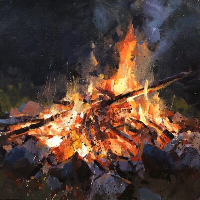 """Bonfire"" acrylic on paper, 9x9 in. sold"