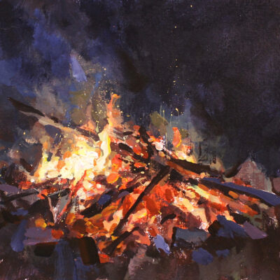 """Bonfire II"" acrylic on paper, 8x8 in. sold"