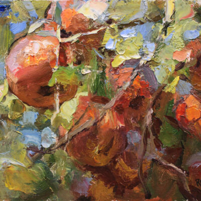 """Apples"" oil on board, 7x10 in. sold."