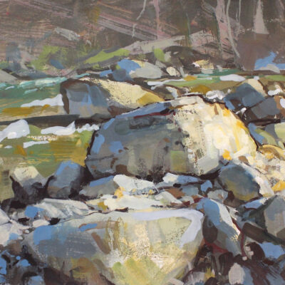 """Graphic Study of the Creek"" gouache on paper, 8x11 in. available"