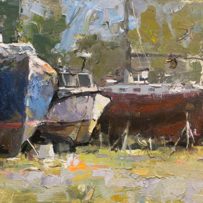 """South Thomaston Boatyard"" oil on board. 8x17 in. available"
