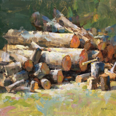 """""""Splitting Wood"""" oil on board. 16x16in. available"""