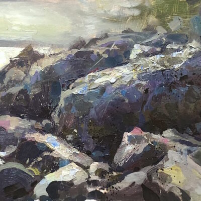 """Hidden Spot, Owls Head, Maine"" oil on board. 8x17in. available"
