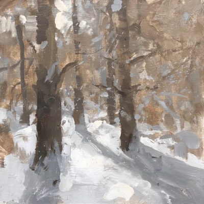 """Winter Sketch 3"" oil on linen. 9.5x9.5in. available"