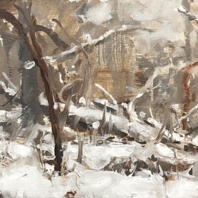 """""""Winter Sketch 4"""" oil on linen. 7x12.5in. available"""
