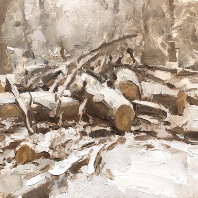 """""""Winter Sketch 6"""" oil on board. 7x11.5in. available"""