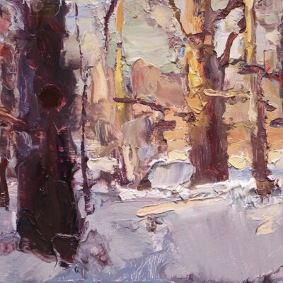 """""""Sunset Woods Sketch"""" oil on board. 7x10in. available"""