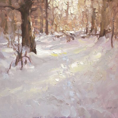 """""""Woods Trail 3"""" 15x16in. oil on board. available"""