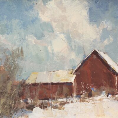 """End of Winter Sun with Barn"" gouache on paper. 8x10in. sold"