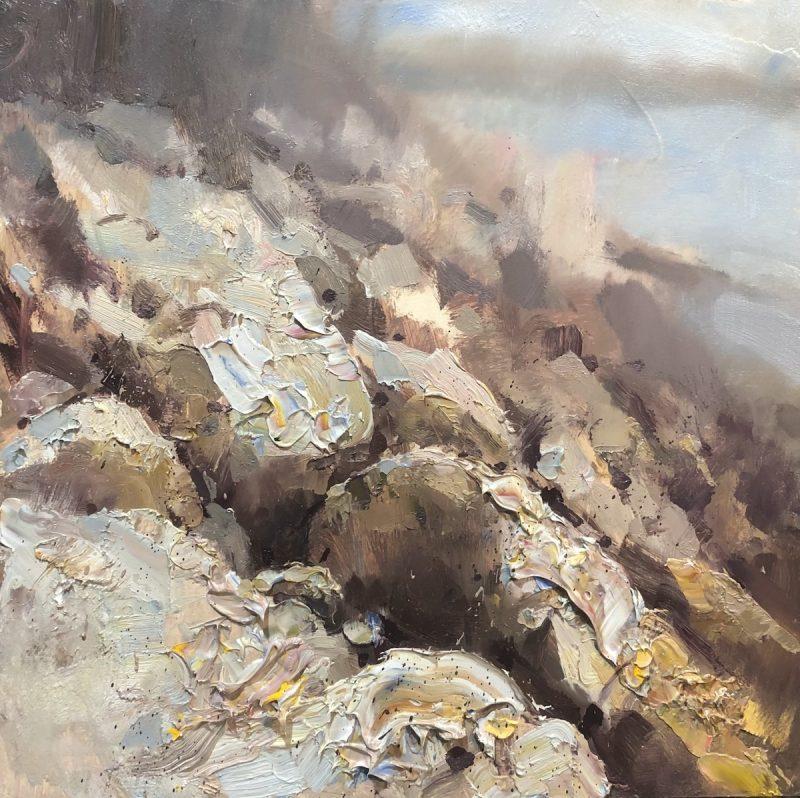 """Lucia Beach, Maine"" oil on board. 16x16in."