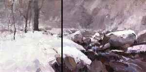 """Snowy Creek Diptych"" oil on linen. 7x14in."
